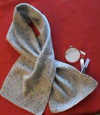 """NWT 100% cashmere scarf 40"""" wrap ladies grey tweed keyhole pull through TALBOTS"""