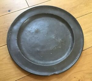 ANTIQUE-C1700-Large-Pewter-CHARGER-Owners-MARKS-diameter-15-Inches