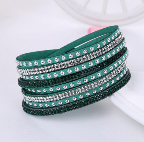 Hot Fashion Leather Wrap Bracelet manchette Punk Cristal strass Bracelet Bangle