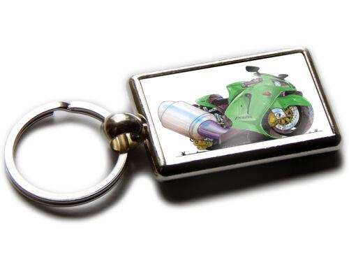 Kawasaki Ninja Zx12r Motorrad Koolart Chrom Schlüsselring Bild Beide Seiten