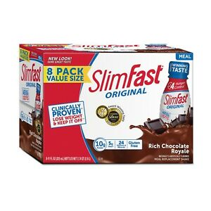 24-Bottles-SlimFast-Meal-Replacement-Shakes-Rich-Chocolate-Lose-Weight-11-Oz