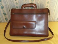 SACOCHE SERVIETTE EN CUIR JELEN PARIS MARRON CLAIR VINTAGE LEATHER TBE