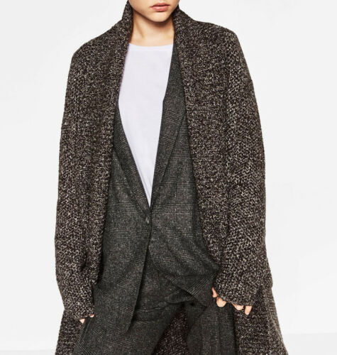 Cardigan con Long Zara Coat Knitted applicate lungo Jacket Cardigan tasche q0CqXa