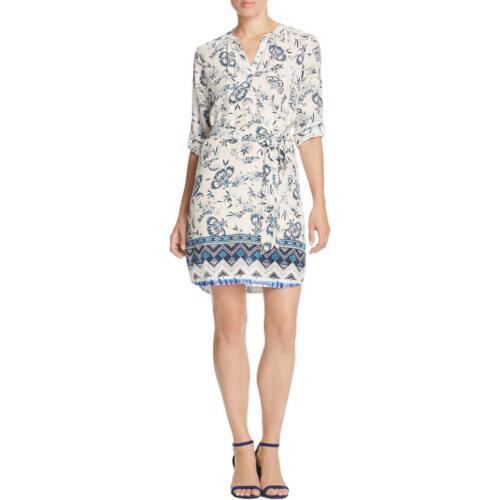 Beach Lunch Lounge Womens Stevie Navy Floral Print Shift Tunic Dress L BHFO 9164