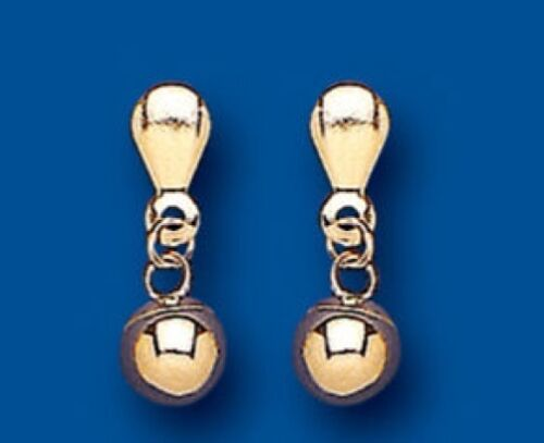 Solid Gold Drop Earrings Bead Ball Drops 375 Hallmarked
