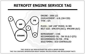 2006 ls2 6 0l gto retrofit engine service tag belt routing diagram image is loading 2006 ls2 6 0l gto retrofit engine service