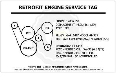 2006 LS2 6.0L Gto Retrofit Motor Cinturón de etiqueta de servicio diagrama  de enrutamiento Calcomanía | eBayeBay