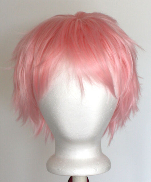 11'' Short Messy Spiky Light Pink Synthetic Cosplay Wig NEW