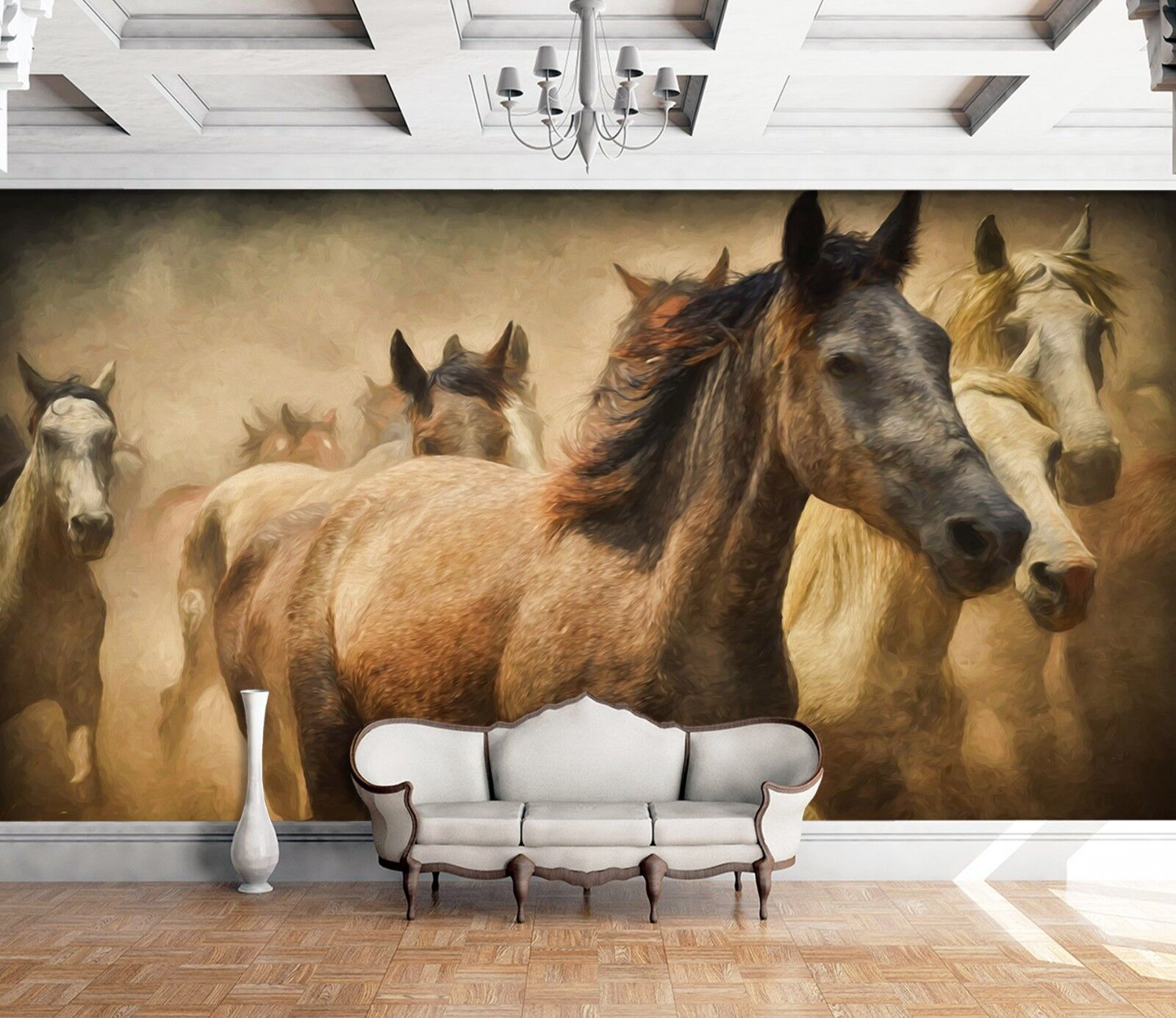 3D Horses Group Painting 454 Wall Paper Wall Print Decal Wall Deco Indoor Murals