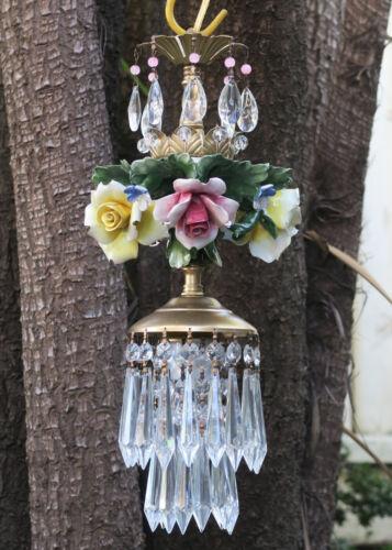 Porcelain pink lemon ROSE Chandelier SWAG lamp Capodimonte Brass Vintage crystal