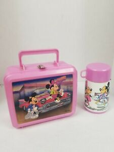 VTG Disney Aladdin Mickey & Minnie Mouse Lunch Box And Thermos 50's Diner Pink
