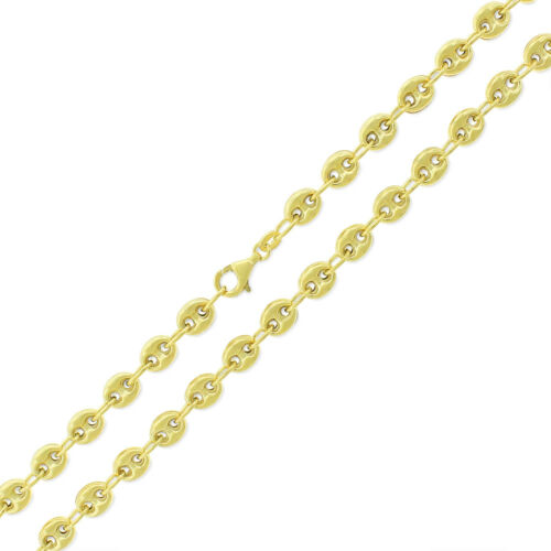 925 Sterling Silver Italian 6mm Puff Mariner 10k Yellow Gold Necklace Chain