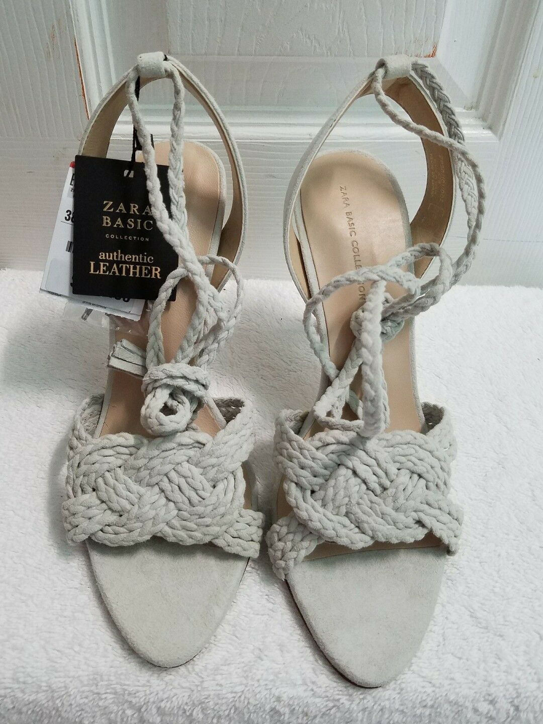 ZARA LEATHER LACE UP SANDALS EUR 37-39 US 6.5-39 REF. 2830 001 NWT
