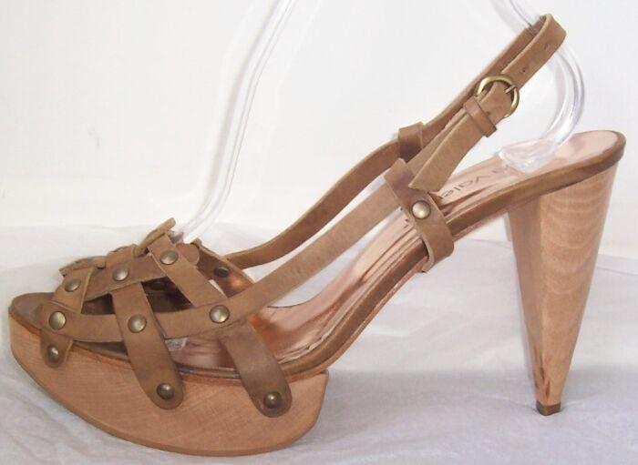 LUCA VALENTINI Brown Leather Cage Platform Sandals Shoes 40 9.5