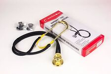 "New Sprague Rappaport Stethoscope 22"" BLACK WITH GOLD PLATED - Latex Free"