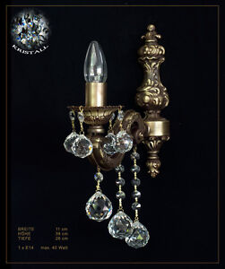 Cristal-Aplique-Vintage-Lampara-de-Pared-de-Metal-y-Autentico-Cristal