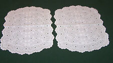 2 EXQUISITE BRODERIE ANGLAISE VINTAGE EYELET DOILIES, PRISTINE WHITE, c1950