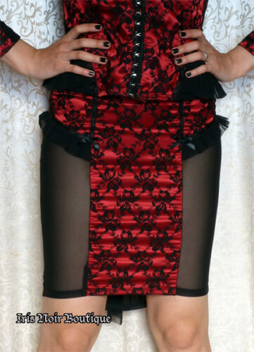 Lip Service Vaudeville Vamps Gothic Lolita Victorian Lace Ruffle Skirt Red