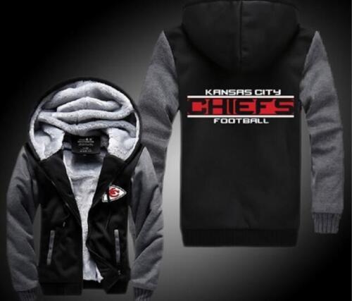 Kansas City Chiefs Football Hoodie Zip up Jacket Coat Winter Warm Black and Gray