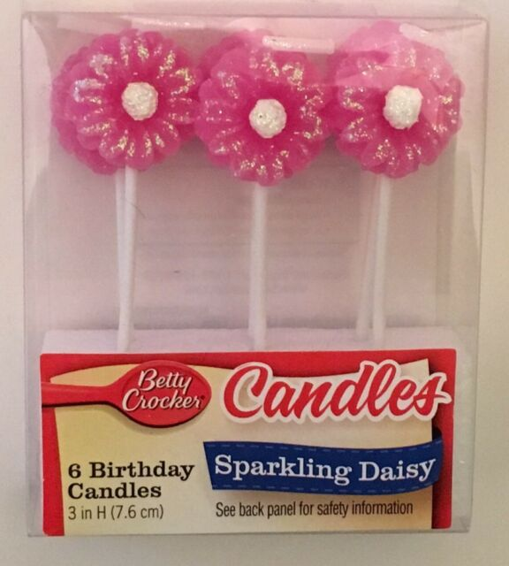Betty Crocker Sparkling Daisy Candles Birthday Pink Multi Flower Cake Candle New