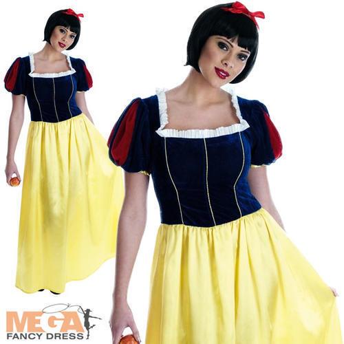 Snow White Long Dress Ladies Fancy Dress Fairytale Princess Womens Adult Costume