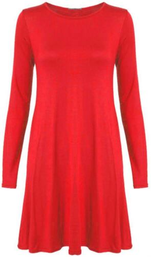 New Ladies Full Sleeve Hanky Hem Flare Dress 8-22