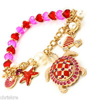 Gold Plated Sea Turtle Pearl Charm Bracelet Pink Red Starfish Crab Shells Fish