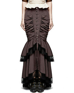 Punk Rave Fishtail Skirt Brown Pinstripe Steampunk Gothic Victorian VTG Pencil