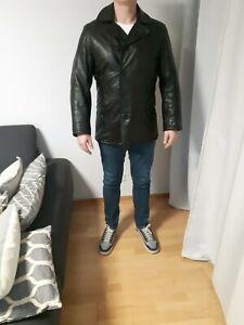 Details zu Herren Pepe Jeans Lederjacke Winterjacke 100 Leder schwarz Größe L gefutert