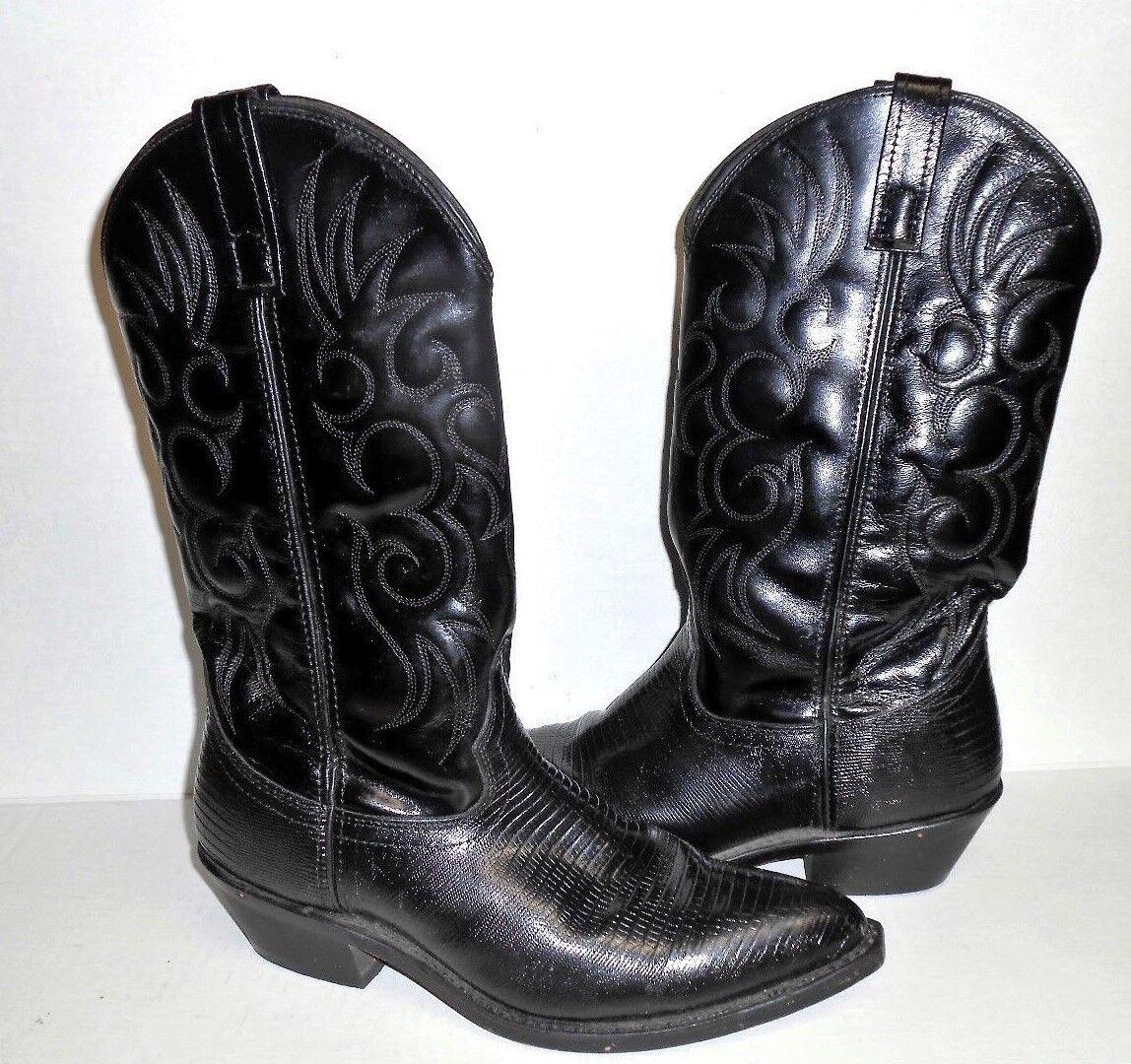 Men's Larossoo stivali Dimensione 9 Western nero Leather Cowboy - 68085