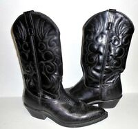 Laredo Western Black Leather Cowboy Pointed Toe Boots - 68085 -  Size 9 Wide
