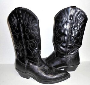 Laredo-Western-Black-Leather-Cowboy-Pointed-Toe-Boots-68085-Size-9-Wide
