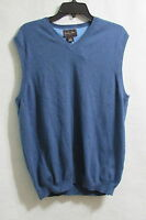 Men's Black & Brown 1826 Blue V-neck Sweater Vest Size Large