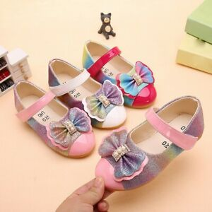 New-Children-Kids-Baby-Girls-Pearl-Bowknot-Bling-Single-Princess-Casual-Shoes