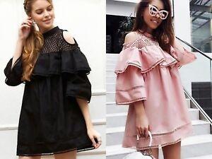 New-Women-Ladies-Summer-Holiday-Ruffle-Layered-Bell-Sleeve-Tunic-Mini-Dress
