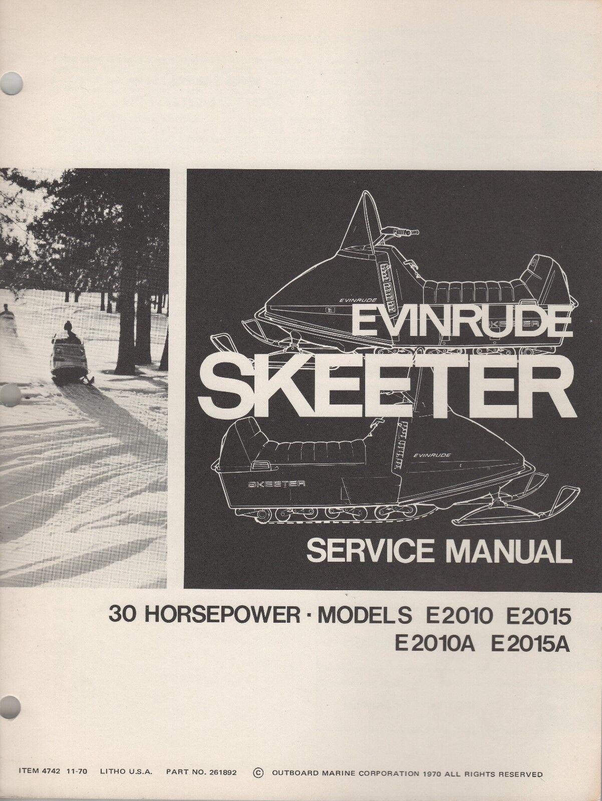 1971 EVINRUDE SKEETER 30 HP  SNOWMOBILE  SERVICE MANUAL P N 261892 (389)