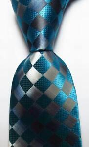New-Classic-Checks-Blue-Black-Gray-JACQUARD-WOVEN-100-Silk-Men-039-s-Tie-Necktie