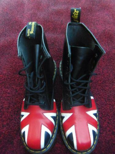 100% genuino, Dr Martens, Stivali neri foro 8, con design punta Union Jack UK 9