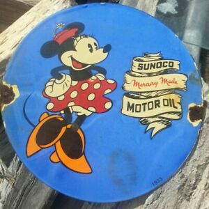 OLD HEAVY 1933 SUNOCO MINNIE MOUSE MICKEY DISNEY PORCELAIN SIGN GAS MERCURY DOTS
