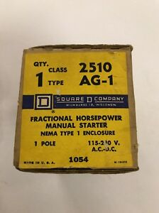 SQUARE D CLASS 2510 TYPE AG-1 MANUAL STARTER -FREE SHIPPING-