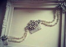 Bridal Triple Hair Comb Drape Diamante ivory pearl Vintage Gatsby hair piece