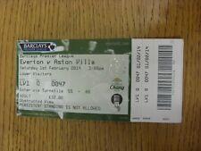 01/02/2014 BIGLIETTO: Everton V ASTON VILLA (piegato, completo). se non in precedenza