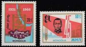 Mongolia-postfris-1966-MNH-433-434-Revolutie-45-Jaar-k063