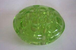Depression-Green-Vaseline-Glass-Footed-Flower-Frog-13-Holes