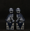"thumbnail 1 - 6.7""Chinese Ceramics Jingdezhen Blue White Porcelain Foo Fu Dog Lion Statue Pair"