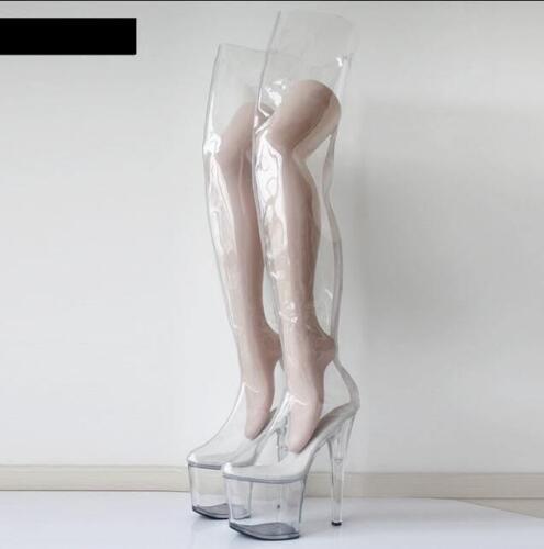 de talons transparentes transparentes Bottes cuissardes avec 20cm à hauts cuisse plateforme sur les tQdrshC