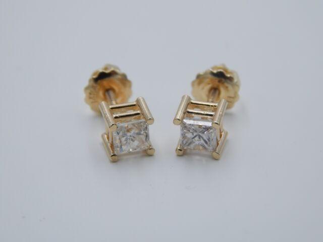NEW Large 1.0 PRINCESS Natural Diamond earrings 14K Yellow Gold I/SI screwback