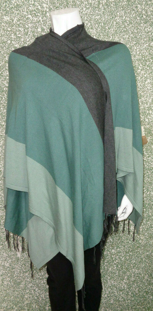 5/9 Sheego Femmes Marques Poncho Taille 44 46 48 Gris Vert Jade Paréo Franges Neuf