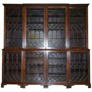 EXCEPTIONAL-ASTRAL-GLAZED-BREAKFRONT-LIBRARY-BOOKCASE-PRINCE-OF-WALES-FEATHERS