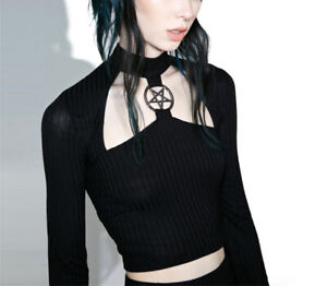 Women-039-s-Long-Sleeve-Clubwear-Pentagram-Front-Gothic-Hollow-Out-Halter-Crop-Tops